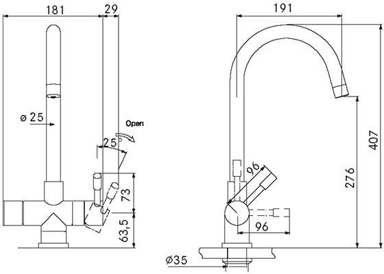 Franke Helix 3-in-1 kraan COMBI 10L RVS technische tekening