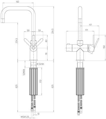 Franke Irena 3-in-1 kraan COMBI 5L Chroom technische tekening
