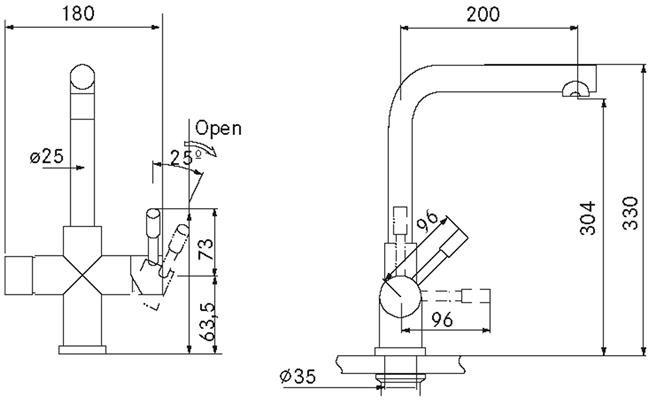 Franke Mondial 3 in 1 kraan COMBI 5L RVS technische tekening