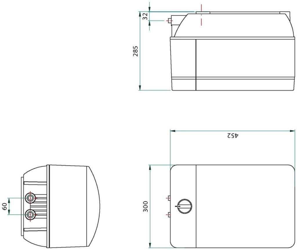Kraan 3-1 Mondial rvs 10 ltr combi M-box afmetingen