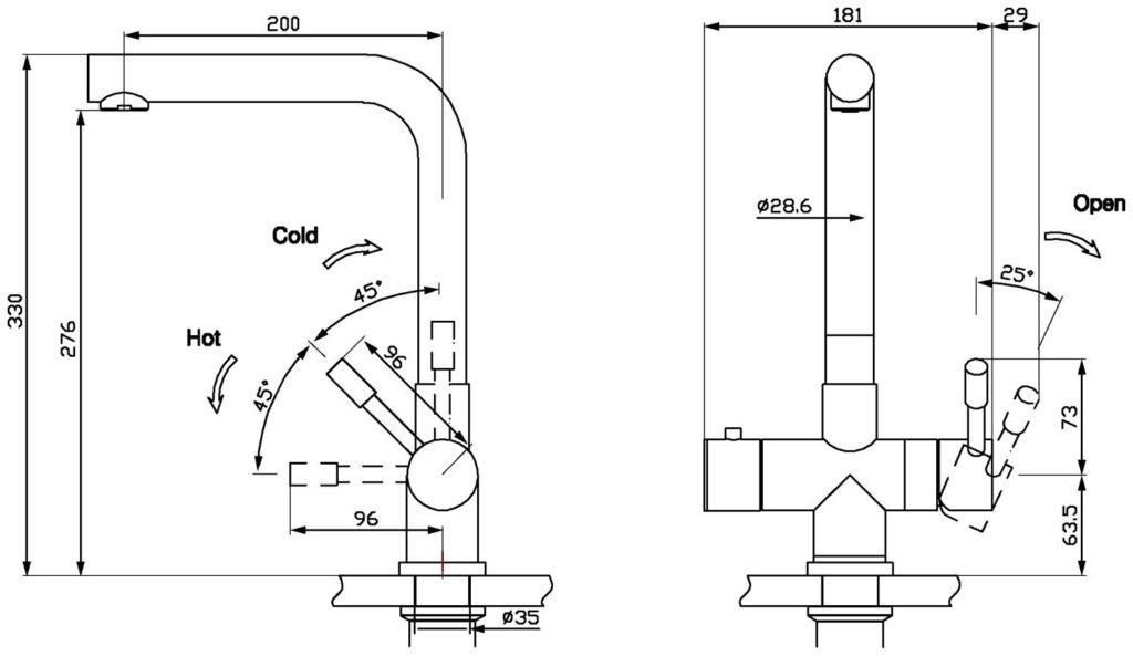 Kraan 3-1 Mondial rvs 10 ltr combi M-box technische tekening