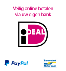 veilig betalen op uw manier via o.a. iDeal, Paypal en Mister Cash.