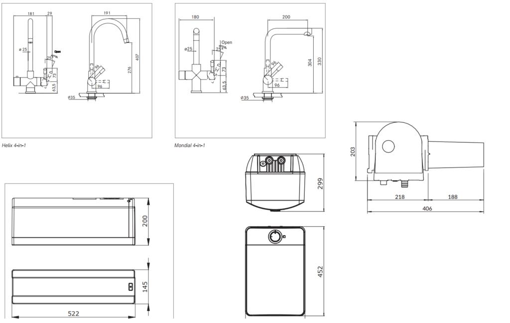 Franke-Mondial-4-in-1-kokend-water-kraan-volledige-maattekening-installatie