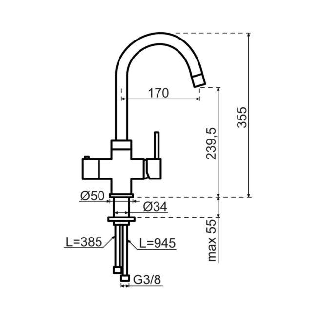 Selsiuz 350337 Rond Zwart Combi Extra Boiler