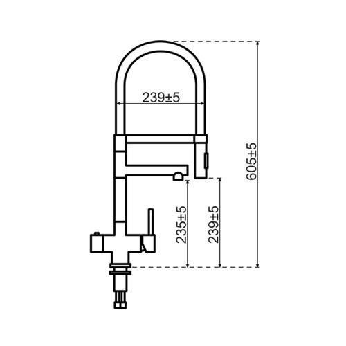 Selsiuz-kokend-water-kraan-Titanium-Single-Boiler-XL-Gun-Metal-afmetingen