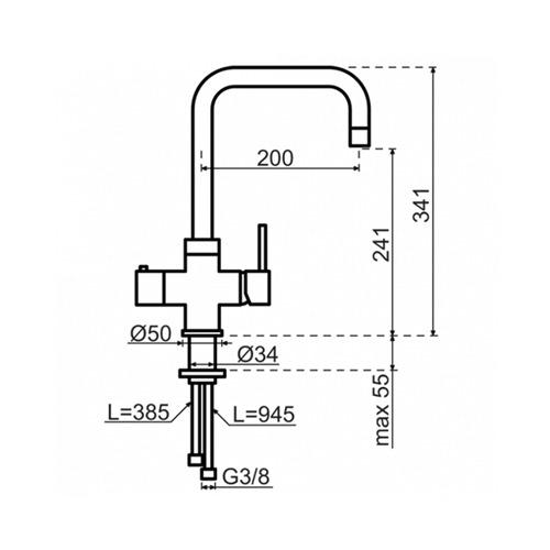 Selsiuz-3-in-1-Kokend-Water-Kraan-Single-Boiler-Haaks-Zwart-afmetingen