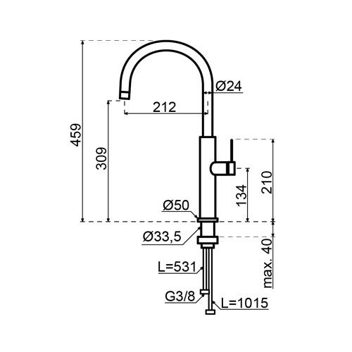 Selsiuz-kokend-water-kraan-Titanium-Single-Boiler-Gessi-RVS-Afmetingen